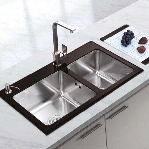Chiuveta Bucatarie Inox Cookingaid Tempered Glass Duo Cu