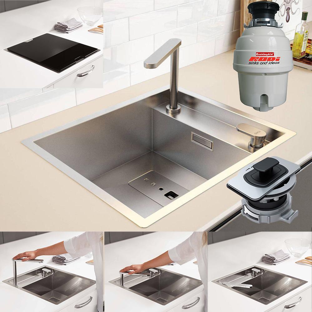 Chiuveta-Bucatarie-inox-CookingAid-Invisible-40R-baterie-retractabila-si-tocator-resturi-alimentare